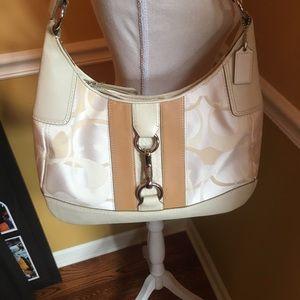 Coach Hampton optic /leather hobo+wallet +dust bag